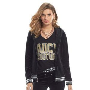 JUICY COUTURE Hoodie Sweatshirt Black Velour M